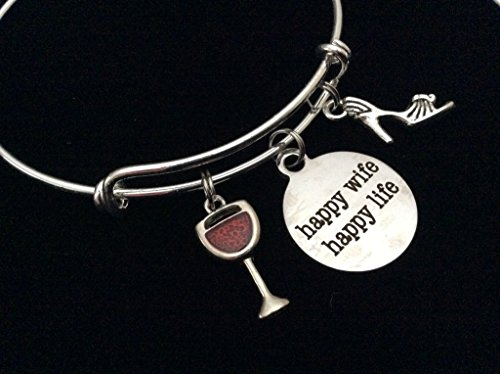 Happy Wife Happy Life with Martini and High Heel Shoe Silver Expandable Charm Bracelet Adjustable Bangle Gift