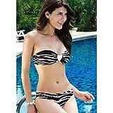 Imported Sexy Tube Bra Stripe Heart-shaped Decorated Bikini Set Swimsuit Black + White M