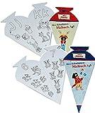 2 tlg. Set: Pirat Käpt´n Sharky - Malbücher als Schultüte - zum Buchstaben UND Zahlen lernen für 4 - 8 Jahre - ABC - für Schulanfang und Vorschule - Malvorlagen zum Ausmalen Schultüten