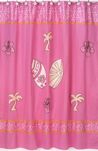 tropical hawaiian kids bathroom fabric bath surfboard shower curtain by sweet jojo designs