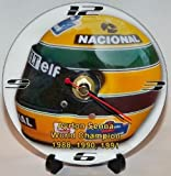F1 AYRTON SENNA HELMET * A CD/DVD (12 cm diameter) SIZED NOVELTY CD QUARTZ WALL CLOCK WITH FREE BATTERY AND DESK STAND * CAN BE PERSONALISED