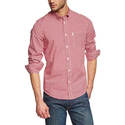 <strong>Ben Sherman< strong> Men's 2 Finger Button Down Gingham Check Regular Fit Classic Short Sleeve Casual Shirt