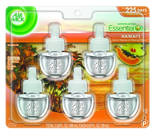Air Wick Life Scented Oil Plug In Air Freshener Refills, Hawaii Essential Oils, 5 Refills, 3.38oz (Papaya Air Freshener compare prices)