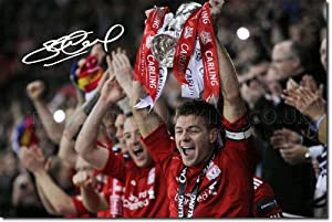 Steven Gerrard Signed Photo Print - Liverpool Carling Cup Champions 2012 - Autograph Poster 12x8 A4 Glossy Gift