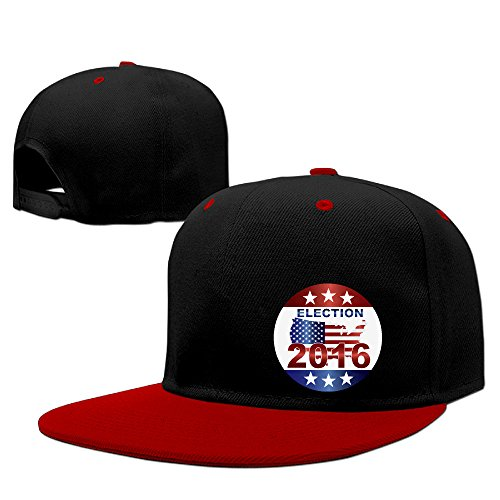 Show Time Presidential Election 2016 Brim Hat Adjustable Flat Bill Cap Red