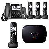 Panasonic KX-TGF383M DECT 4-Handset LandlineTelephone &KX-TGA405B Range Extender