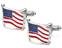 FIBO STEEL American Flag Cufflinks for Men Business Wedding 1 Pair