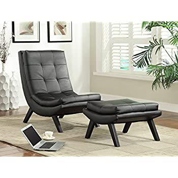 Avenue Six AVE SIX Tustin Faux Leather Lounge Chair and Ottoman Set with Solid Wood Legs, Black