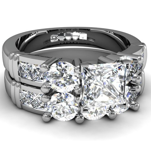 1.40 Ct Princess Cut 3 Stone Diamond Engagement