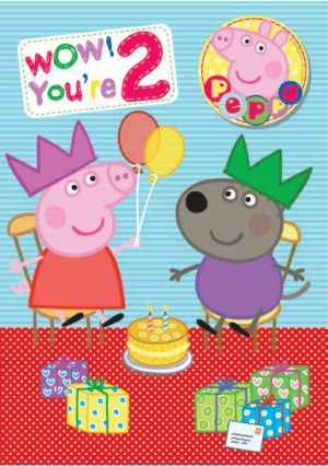 Peppa Pig Age 2 Badge Birthday Card