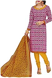 PRANJUL Women's Cotton Unstitched Dress Material (Pink)