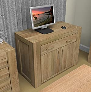 Eton Oak Furniture Hidden Home Office Computer Desk Kitchen Home