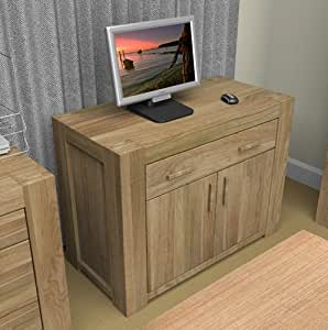 Eton Oak Furniture Hidden Home Office Computer Desk Kitchen Home