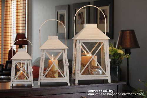 Melrose International Metal and Glass Lantern, Cream, Set of 3