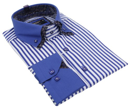 Mens Italian Double Pattern Collar Stripe Blue & White Shirt Slim Fit Smart or Casual 100% Cotton