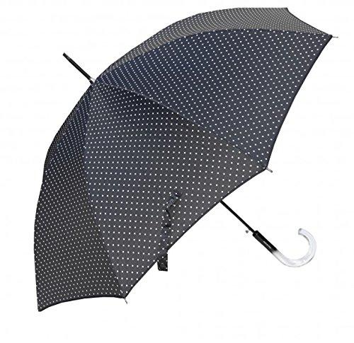 Guy De Jean Black Designer Umbrella with many white dots - Automatic Umbrella - Umbrella - very elegant - Made in Paris