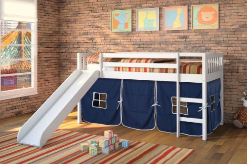 Acme White Wood Twin Loft Bed With Blue Tent