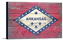 Arkansas State Flag - Barnwood Painting (18x12 Gallery Wrapped Stretched Canvas)