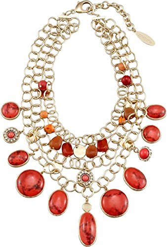 Chico'S Necklace, Womens Amber Multi-Strand Chain Necklace - Coral/Gold-Tone