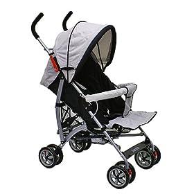 Dream On Me Recline Stroller W 2 Trays - Grey/Black 459-B