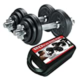 York Fitness 20kg Cast Iron Dumbell Set and Case