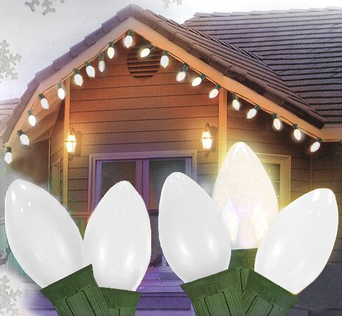 25 Ceramic Style Opaque White Led Retro Style C7 Christmas Lights - Green Wire