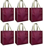 Reusable Grocery Tote Bags 6 Pack, Burgundy w/ Contrast Trim Combo