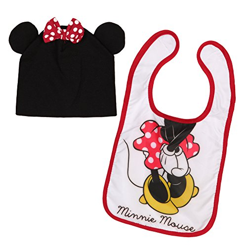 Baby-Girls Infant Minnie Mouse Character Bib and Hat Set, White, One Size - 1