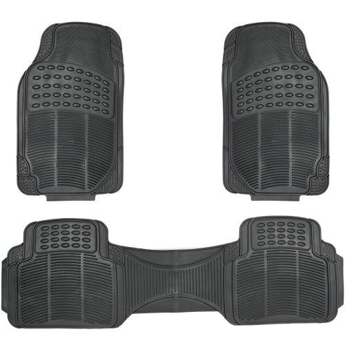 OxGord® 3pc Full Set Ridged Heavy Duty Rubber Floor Mats, Universal Fit for Car, SUV, Van & Trucks (Black)