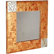 Y-Square Gallery Glass & Wooden Bronze Wall Mirror (63.5 Cm X 3 Cm X 63.5 Cm, Clear)