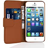 iPhone 5 Case - Leather Wallet Flip Cover for iPhone 5 and 5S, Brown