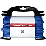 "Poly Braided Diamond Cord - General Purpose Utility Rope 5/32 "" Thickness - Great for Securing & Tie Downs 75 ft Hank with FREE Line Winder Organizer"