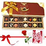 Valentine Chocholik's Belgium Chocolates - Mix Assorted Chocolates With Love Card And Rose