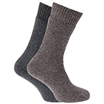 Mens Heavy Weight Boot Socks with Terry Cushioning (Pack of 2) (US Shoe 6.5-11.5) (Brown/Grey)