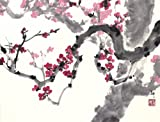 """""""Renewal"""" Cherry Blossoms Emerge from an Old Tree, Giclee Print of Original Sumi-e Flower Painting, 20 x 26.5 Inches"""