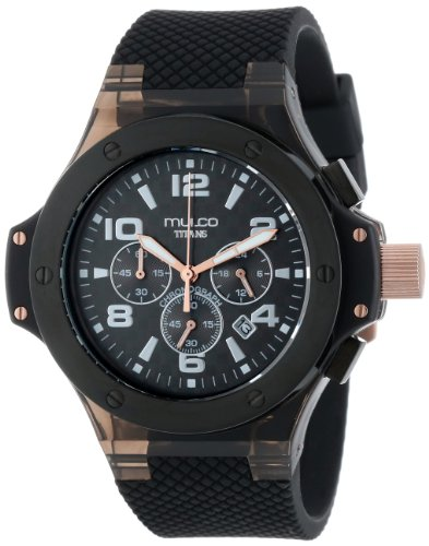 Mulco Unisex MW2-9619-025 Black Stainless Steel Watch with Silicone Strap