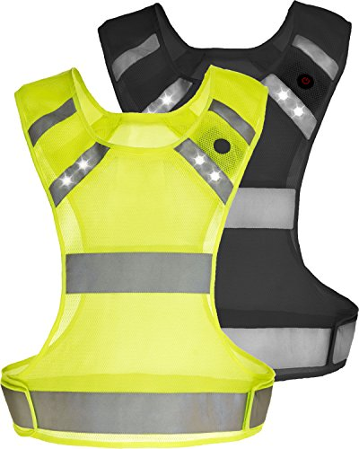 Reflective Vest w/ LED Lights By Easy Motion Life – Night Safety Runner & Sports Gear for Men & Women – (One Size – Yellow)