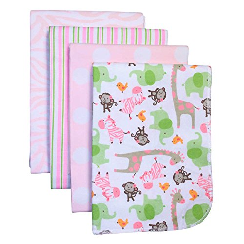 Carter'S 4-Pack Cotton Flannel Receiving Blankets, Pink Zebra Safari front-137156