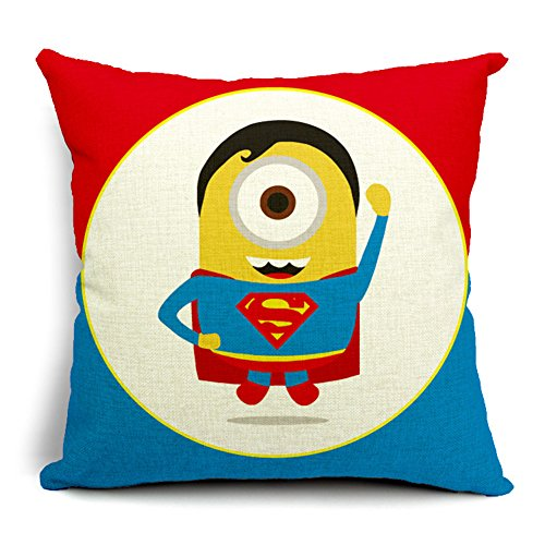 Poens Dream Cuscino, Cute Cartoon Superman Funny Cotton Linen Decorative Throw Pillow Case Cushion Cover, 17.7 x 17.7inches