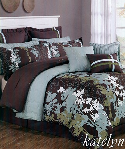 Fancy Collection Yafa 12Pc Bedding Floral Brown Aqua Blue Comforter Quilt Set King Size front-359202