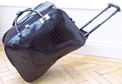 Travel bag on wheels Mock croc Black Patent trolley holdall luggage weekend or overnight bag