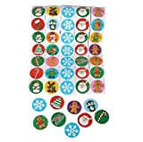 "~ 5 Rolls ~ Christmas / Holiday Stickers ~ 100 Stickers Per Roll ~ 500 Stickers Total ~ Approx. 1.5"" ~ New ~ Gingerbread Man, Santa, Snowflake, Penguin, Christmas Tree, Candy Cane, Snowman, More..."