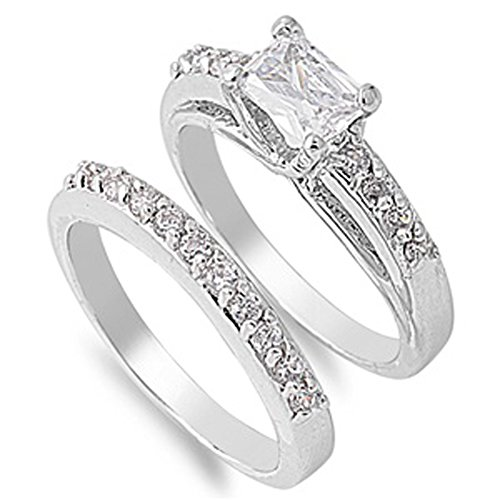 Rhodium Plated Wedding & Engagement Ring Set Clear Princess Cut Cz Stone New Size 10 Valentines Day Gift