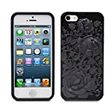 Fosmon DURA Series TPU Case for Apple iPhone 5 / 5S - Black 3D Rose
