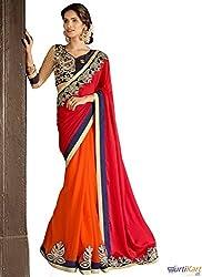 Pragya creations Women's Chiffon Saree (Prag10_Multi)