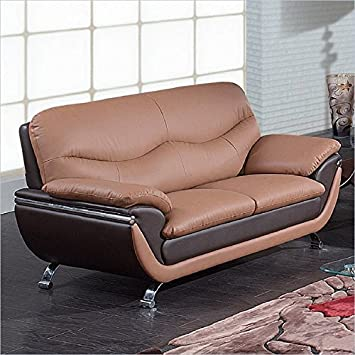 Global Furniture Leather Matching Loveseat - Tan/Brown/Chrome Legs