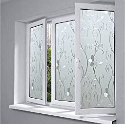 Coavas Privacy Window Film, Non-Adhesive Frosted Decorative With Flower Window Film (White,17.7by78.7 Inch)