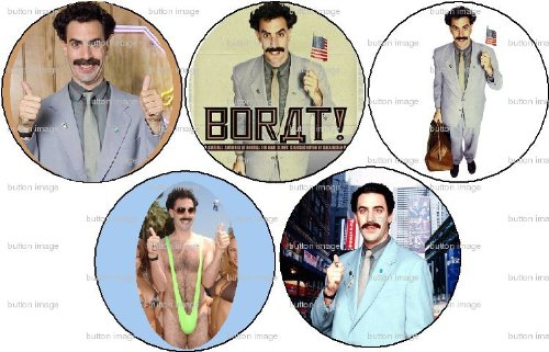 Set+of+5+BORAT+Pinback+Buttons+1.25%22+Pins+Sacha+Baron+Cohen