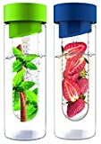 AdNArt Flavour It Glass Water Bottle with Fruit Infuser, 20-Ounce