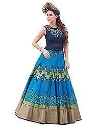 Rozdeal New Sky & Dark Blue Banglori Silk Designer Gown
